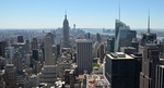 Top of the Rock, vue vers le sud-ouest de Manhattan, l'Empire State Building.